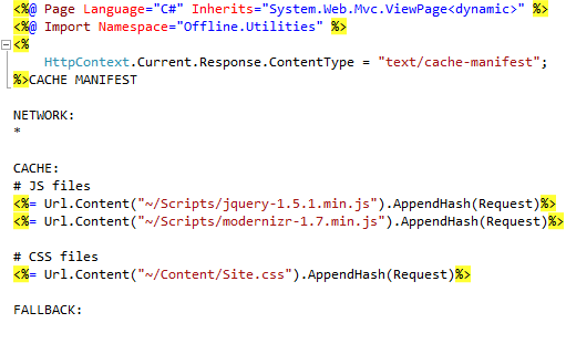 MVC and the HTML5 Application Cache