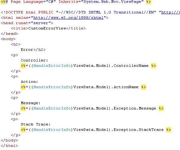 ASP.NET MVC Error Handler