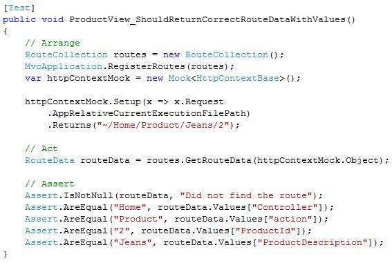 MVC URL Route Test Moq