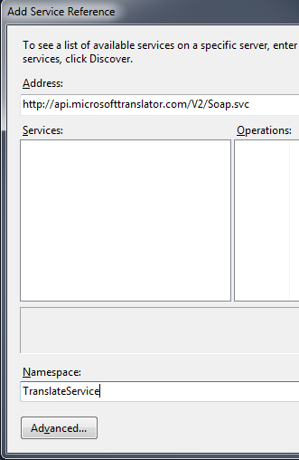 Microsoft Translator Namespace
